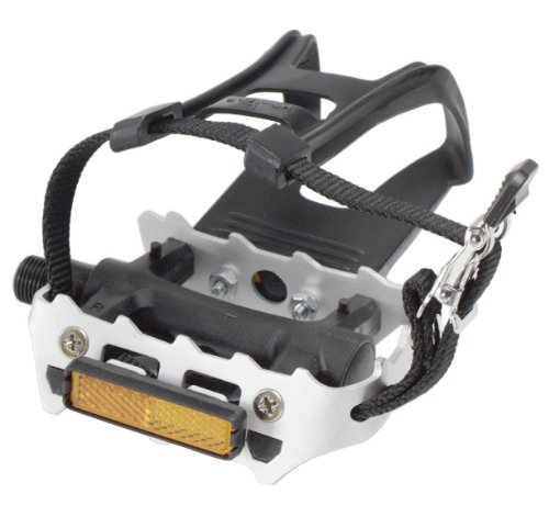 Avenir Resin/Alloy Pedals with Toe Clips and Straps, Black/Silver, 9/16 Inch ()