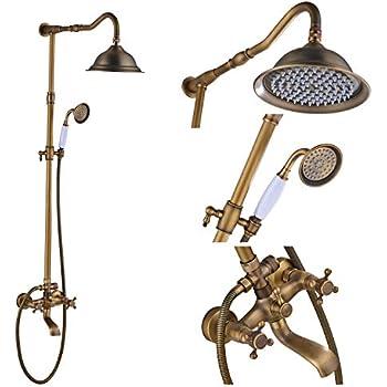 Rozin Antique Brass Bathroom Shower Faucet Set 8 Inch Shower Head