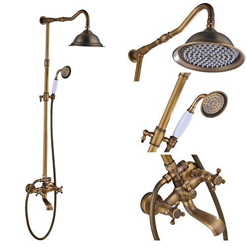 Rozin Antique Brass Bathroom Shower Faucet Set 8 Inch Shower Head + Hand Spray