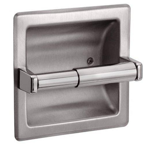 HowPlumb Recessed Toilet Paper Holder with Rear Mounting Bracket, Satin Nickel