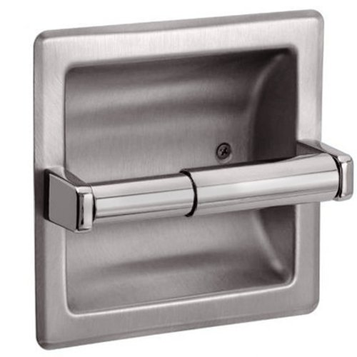 HowPlumb Recessed Toilet Paper Holder with Rear Mounting Bracket, Satin - Recessed Holder Toilet Paper Nickel