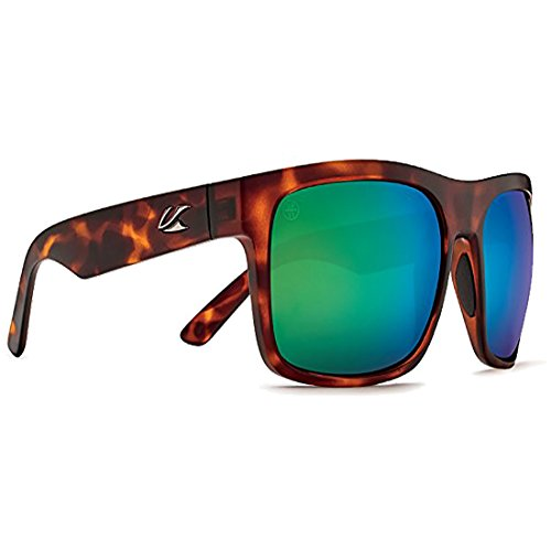 Kaenon Mens Burnet XL Sunglasses, Matte Black/Tortoise / Pacific Blue Mirror, OS