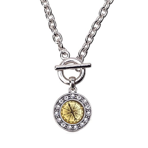 Inspired Silver Compass Circle Charm Toggle Necklace Clear Crystal Rhinestones ()