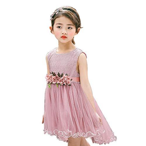 RONSHIN Girls Summer Bud Silk Gauze Sleeveless Princess Petal Dress Pink ()