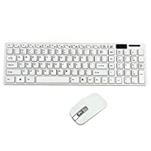 Alizzee Slim White Wireless 2.4GHz Gaming Keyboard and Mouse Combo Set Power Saving, Wireless Keyboard Mouse Combo for Windows XP/7/8/10 /Vista,and Mac OS