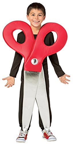 Scissors Paper Rock Costume (UHC Boy's Scissors Outfit Funny Theme Party Fancy Dress Child Halloween Costume, Child M (7-10))