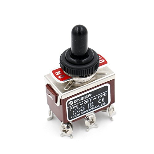 Baomain Toggle switch DPDT (NO)-OFF-(ON) 3 position Momentary 125VAC 20A with Rainproof cap ()