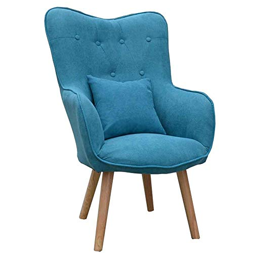 YINGYING Lazy Couch Chair, Nordic Style Fabric Computer Chair, Small Apartment Modern Bedroom Living Room Lounge Chair Sweat-Absorbent Wet Touch (Color : Blue)