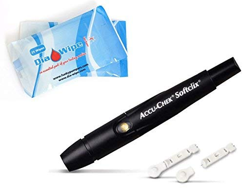 Accu Chek Softclix Lancing Device + 10 Lancets Bundle with Dia Wipes Finger Blood Wipes Accurate Test Results Check