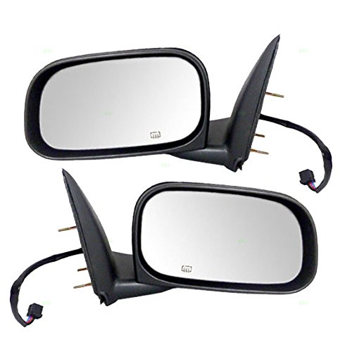 Driver and Passenger Power Side View Mirrors Heated 6x9 Textured Replacement for Dodge Mitsubishi Pickup Truck 55077625AH 55077624AI