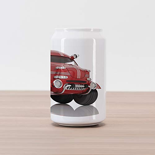 (Ambesonne Cars Cola Can Shape Piggy Bank, 3D Style Car Kids Traffic Transport Technology Prototype Vehicle, Ceramic Cola Shaped Coin Box Money Bank for Cash Saving, Dried Rose Charcoal Grey White)