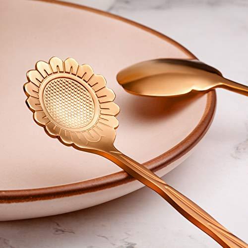 Chengu 8 Pieces Stainless Steel Tableware Creative Flower Coffee Spoon Sugar Spoon Tea Spoon Stir Bar Spoon Stirring Spoon Gold 8 Different Patterns