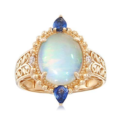(Ross-Simons Opal and .40 ct. t.w. Sapphire Ring With Diamond Accents in 14kt Yellow Gold)