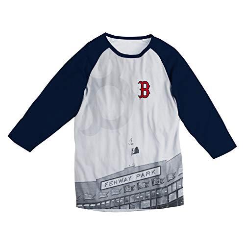 FOCO MLB Boston RED SOX White Raglan Baseball TEE - Mens Extra Large
