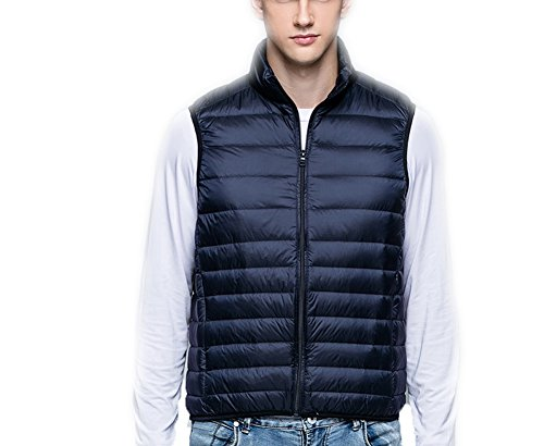 Uomo Piumino Navy Stand Blue Ultra Giacche Collar Down Gilet Weatherproof Coat Ake light dPH6qwzdx