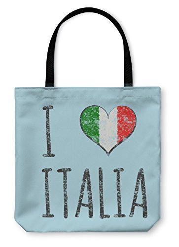 Gear New Shoulder Tote Hand Bag, I Love Italia Typography Tshirt Graphics Illustration, 18x18, - Day Italia Independent
