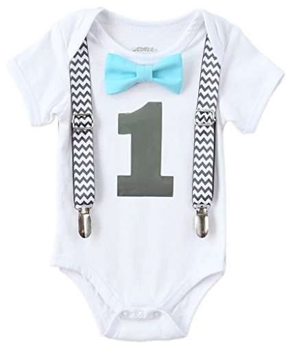 Noah's Boytique Boys Cake Smash Outfit First Birthday Grey Chevron Aqua Bow Grey Number One 12-18 Months