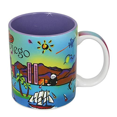 (San Diego Coffee Mug Neon Rainbow 11 Ounce Ceramic Mug)