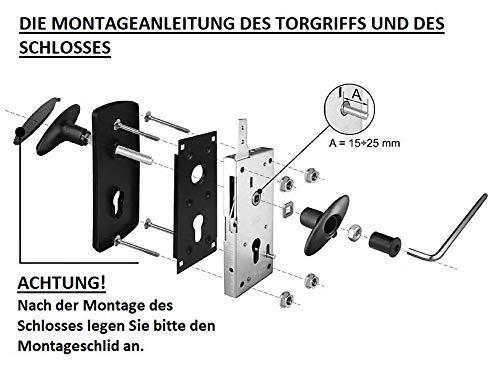 KOTARBAU Garagentorgriff 76 x 173mm Montageelementen Torgriffgarnitur Schlie/ßgriff Torgriff Torgriffsatz mit Schild Garagentor Torklinke Torbeschlag
