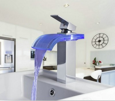GOWE 3 Colors Waterfall Spout Basin Torneira LED Light Bathroom Chrome Deck Mount Basin Sink Faucets,Mixer Tap