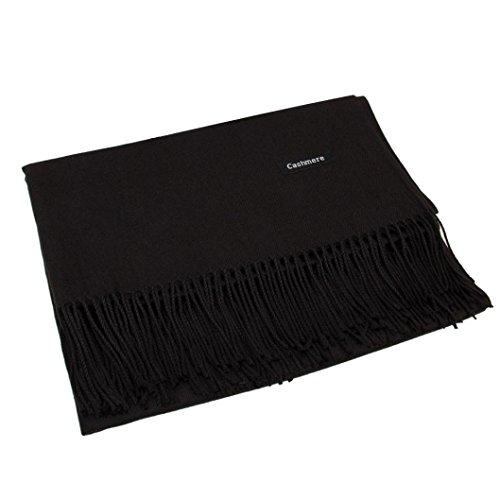 Women Cashmere Blend Pashmina Solid Tassel Shawl Wrap Scarves Winter (Black)