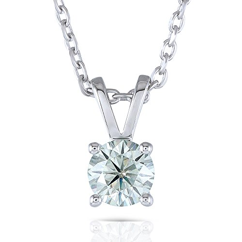 1 Carat 6.5mm Lab Grown Moissanite Round Solitare Pendant Necklace Platinum Plated Silver With Platinum Plated Silver Chain for Women - Moissanite Platinum