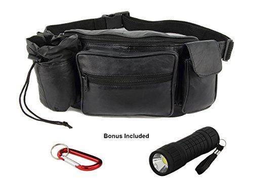 Unisex Black Soft Leather Bum Bag Waist Zippered Pocket (Black) - 3