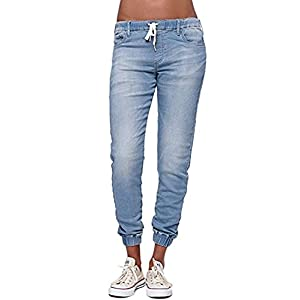 Women's Jeans Denim Joggers Juniors Drawstring Elastic Waistband Skinny Pants