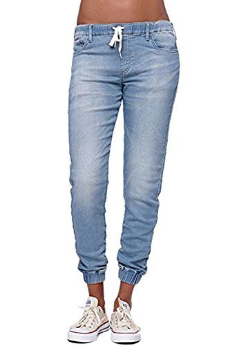 Womens Jogger Denim Jeans Elastic Drawstring Waisted Stretchy Classic Pants by EastLife