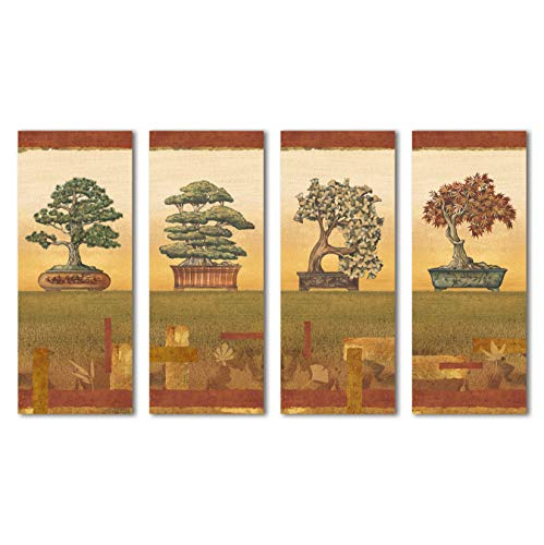 Gango Home Décor Bonsai I Classic, Retro Japanese Bonsai Trees; Four 8X20 Poster Prints from Gango Home Décor