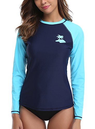 Taylover Women's Swim Shirts Long Sleeve Rash Guard Swim Shirts Athletic Swim Top