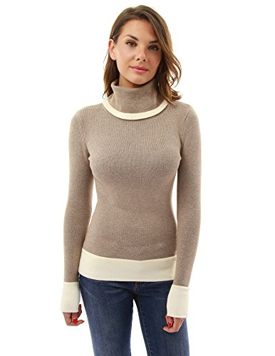 PattyBoutik Women's Block Color Turtleneck Sweater (Tan and Ivory M) (Turtleneck Tan Sweater)