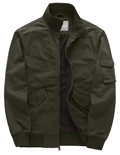 WenVen Men's Cotton Light Weight Work Bomber Flight Windbreaker(Army Green,Medium) by WenVen