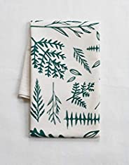 Organic Cotton Fern Tea Towel in Dark Green