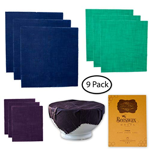 Beeswax Wrap For Food Storage: 9 Pack Reusable Organic Cotton Bees Wax Wraps, Sustainable Eco Friendly Biodegradable Natural Alternative to Plastic to Store and Cover Food