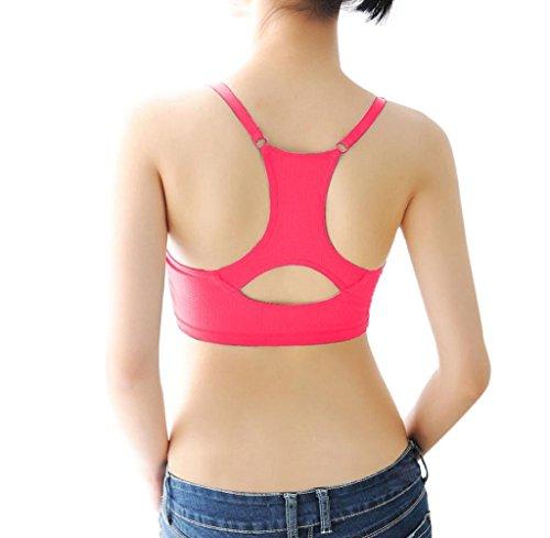 Conjuntos de Lencería,Tongshi Sujetador de Los Deportes Acolchado Mujeres Yoga Fitness Entrenamiento Estiramiento Tank Top Perfecta Racerback Rosa