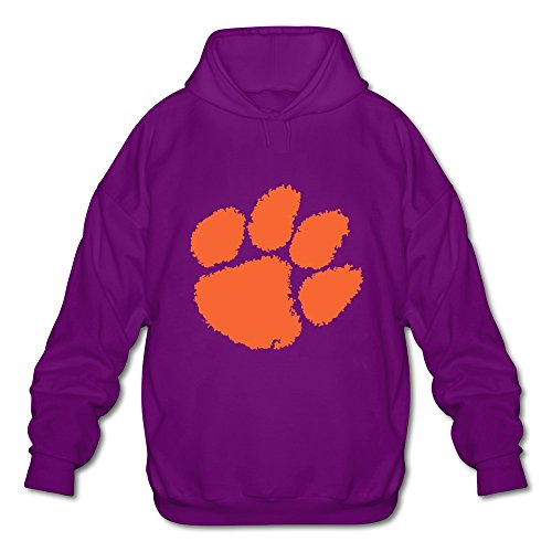 Men's Cool Style Slim Fit NCAA Clemson University Tiger Paw Logo Long Sleeve Pullover Hoodie Size XL Color Purple