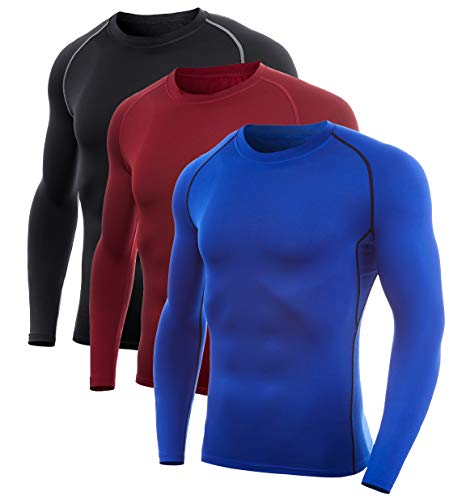 SILKWORLD Men's Long-Sleeve Compression Shirt Base-Layer Running Top