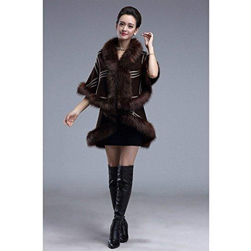 Casuales Abrigos De Outerwear Vintage Battercake Mujeres Invierno Irregular Asimetricos Sintético Coffee Capa Chaqueta Piel Mujer Moda Elegantes ZqqzIwP8