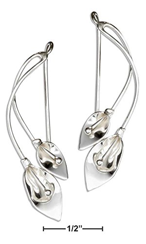 STERLING SILVER DOUBLE CALLA LILY WIRE EARRINGS (Double Calla Lily)