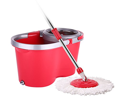 Arevo Twirl Wet Spin Mop and Bucket System for Floor Cleaning, Easy Wring Wet Floor Mop With Washable Microfiber Cloth Broom (Best Way To Get Steam Wallet Money)