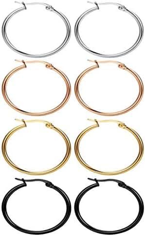 Nicever 40mm 50mm 60mm Stainless Steel Rounded Large Hoop Earrings For Women Girls