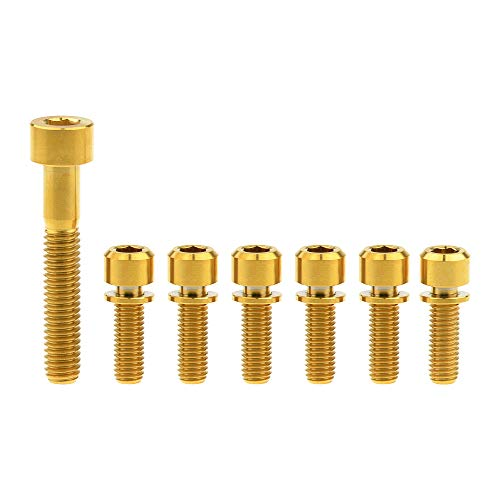 Yaruijia Titanium Bolts Square Head M6x35mm and Ti Hex Screws with Washer M5x16 18 20mm for Bicycle Stem (M5x16mm+M6x35mm, Gold)