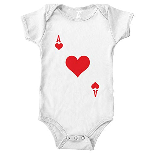 Solitaire Aces - Playing Card - Heart Spade Club Diamond Bodysuit (White, Newborn)