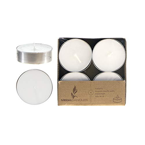 Mega Candles 12 pcs Unscented White Oversize Tea Lights Candle | Pressed Wax Candles 12 Hour Burn Time | for Home Décor, Wedding Receptions, Baby Showers, Birthdays, Celebrations, Party Favors & More