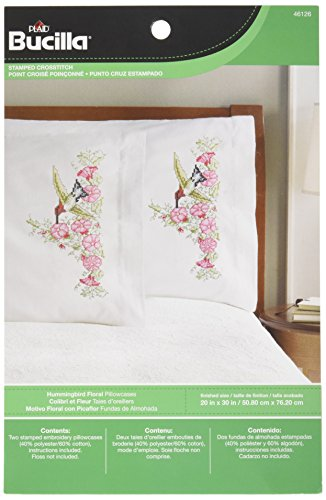 Bucilla Stamped Cross Stitch and Embroidery Pillowcase Kit, 20 by 30-Inch, 46126 Hummingbird Floral