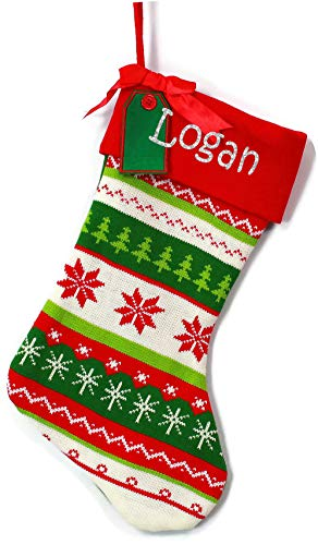 Monogrammed Me Personalized Christmas Stocking, Green with Red Cuff Fair Isle Knitted with Glitter Name