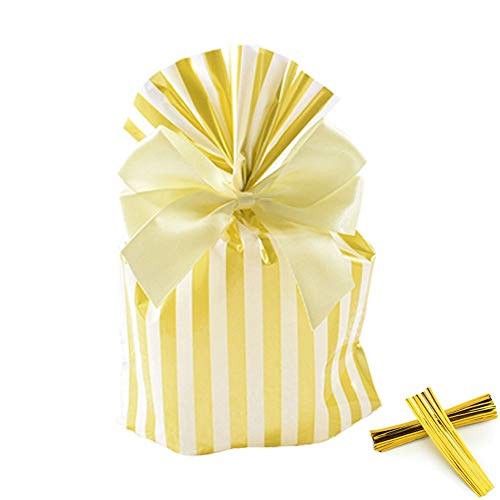 We Moment Gold Stripe Clear Cello Bags Candy Plastic Favor cellophane Treat Bags,Pack of 50