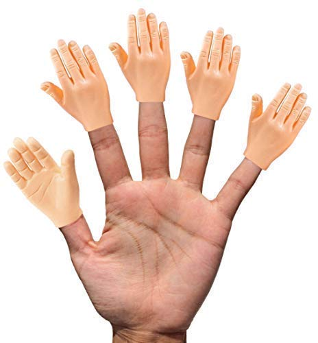 Daily Portable LLC Tiny Hands (HighFive) - 10 Pack - Flat Hand Style Mini Hand Puppet - Right Hands Only