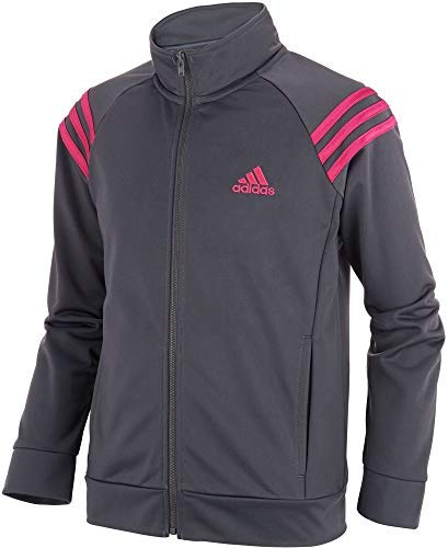 adidas Girls' Athletic Event Jacket Full Zip Comfortable Fit Tricot Sports Jackets with Side Pockets (Grey/Small) by adidas